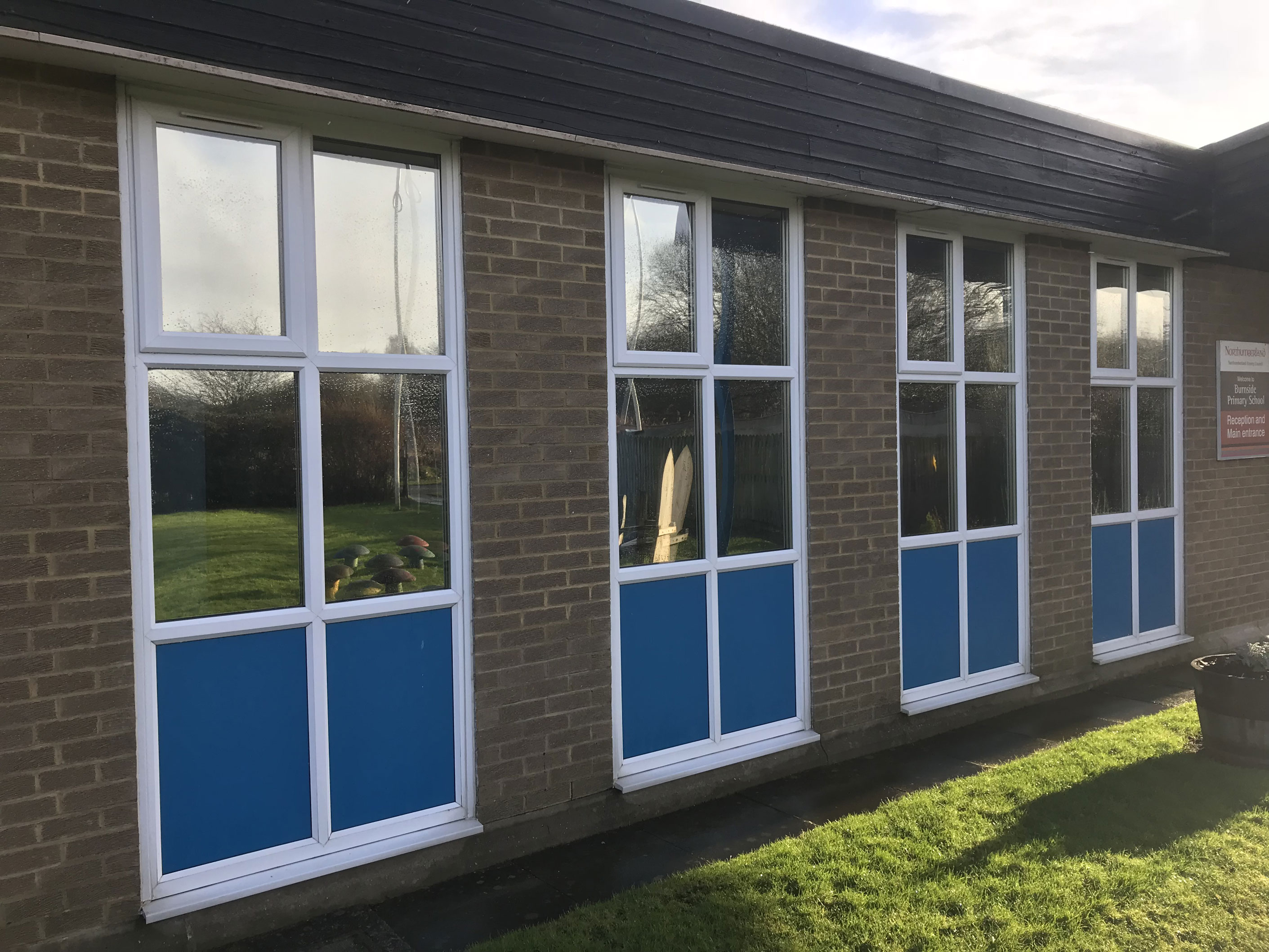 1. Reflective film fitted to windows at Burnside School Cramlington